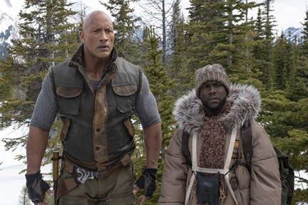 Dwayne Johnson as Eddie and Kevin Hart as Mouse Finbar in scene from