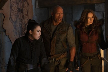 Awkwafina as Ming, Dwayne Johnson as Eddie and Karen Gillan as Martha in scene from