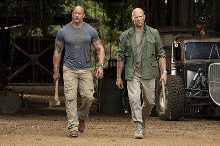 (from left) Dwayne Johnson as Luke Hobbs and Jason Statham as Deckard Shaw in