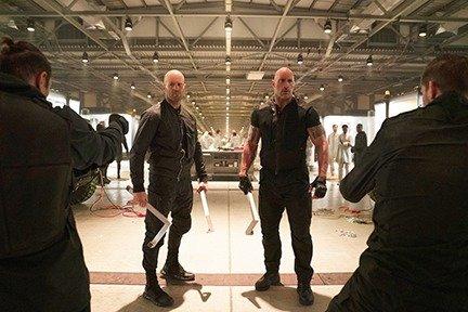 Jason Statham as Deckard Shaw and Dwayne Johnson as Luke Hobbs in